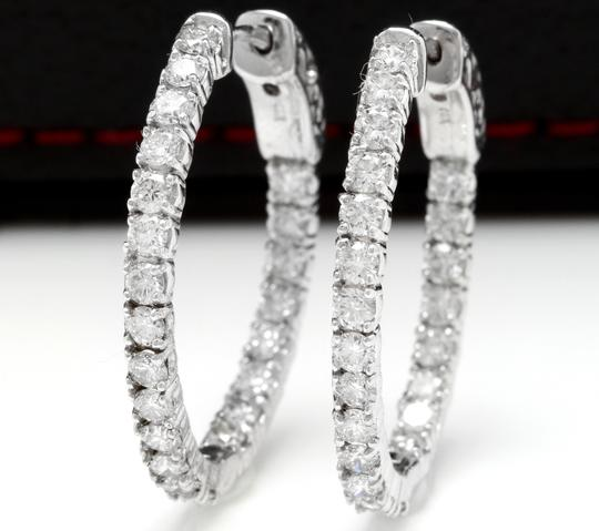 OTHER 2.25 Carats Natural Diamond 14K Solid White Gold Hoop Earrings Image 1