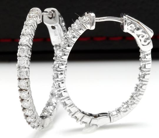 OTHER 2.25 Carats Natural Diamond 14K Solid White Gold Hoop Earrings Image 2