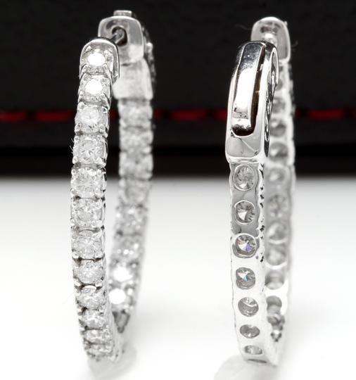 OTHER 2.25 Carats Natural Diamond 14K Solid White Gold Hoop Earrings Image 3