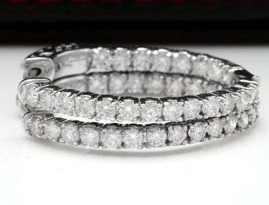 OTHER 2.25 Carats Natural Diamond 14K Solid White Gold Hoop Earrings Image 4