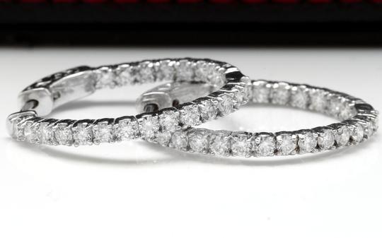 OTHER 2.25 Carats Natural Diamond 14K Solid White Gold Hoop Earrings Image 5