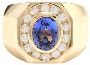 Other Heavy 6.30Ct Natural Tanzanite and Diamond 14K Yellow Gold Men's Ring