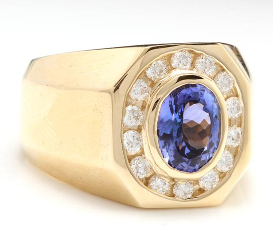Other Heavy 6.30Ct Natural Tanzanite and Diamond 14K Yellow Gold Men's Ring Image 1