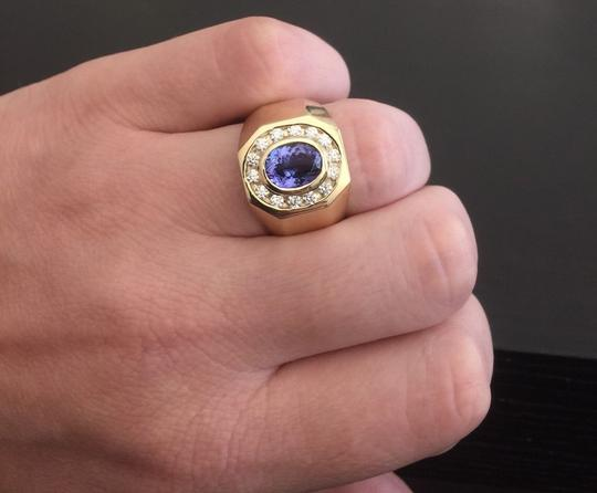 Other Heavy 6.30Ct Natural Tanzanite and Diamond 14K Yellow Gold Men's Ring Image 4