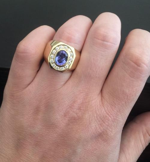 Other Heavy 6.30Ct Natural Tanzanite and Diamond 14K Yellow Gold Men's Ring Image 5