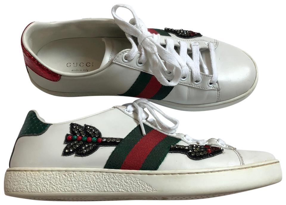 b48c77f6e5b Gucci White Red Green 2017 Ace Arrow Snakeskin Arrow Sneakers ...