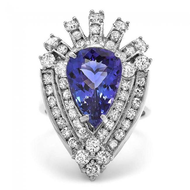 White Gold 7.20 Carats Natural Tanzanite and Diamond 14k Solid Ring White Gold 7.20 Carats Natural Tanzanite and Diamond 14k Solid Ring Image 1
