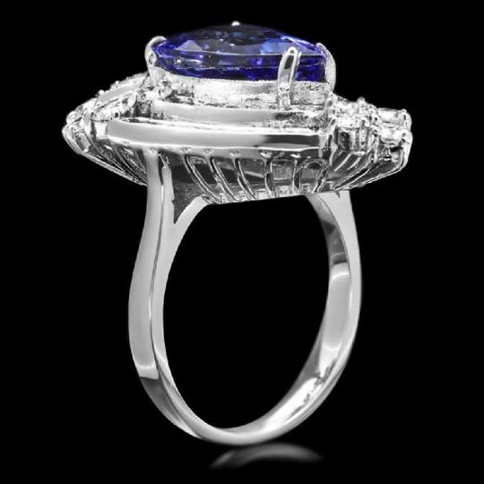 Other 7.20 Carats NATURAL TANZANITE and DIAMOND 14K Solid White Gold Ring Image 1