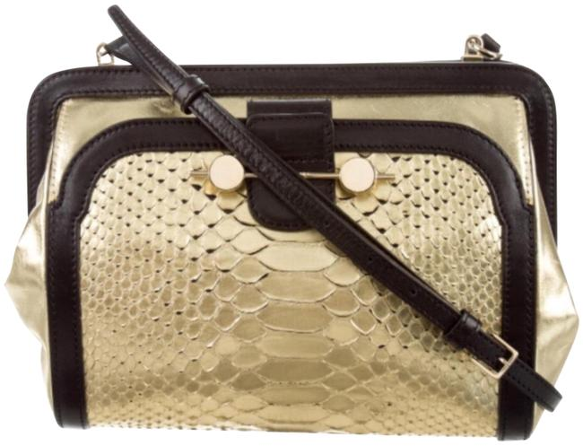 Gold and Black Leather Cross Body Bag Gold and Black Leather Cross Body Bag Image 1