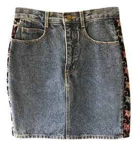 Guess By Marciano Embroidered Music Festival Hippie Skirt denim