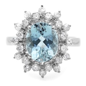 Other 3.65 Carats Natural Aquamarine and Diamond 14K Solid White Gold Ring