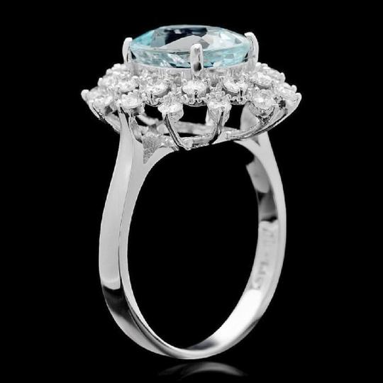 Other 3.65 Carats Natural Aquamarine and Diamond 14K Solid White Gold Ring Image 1