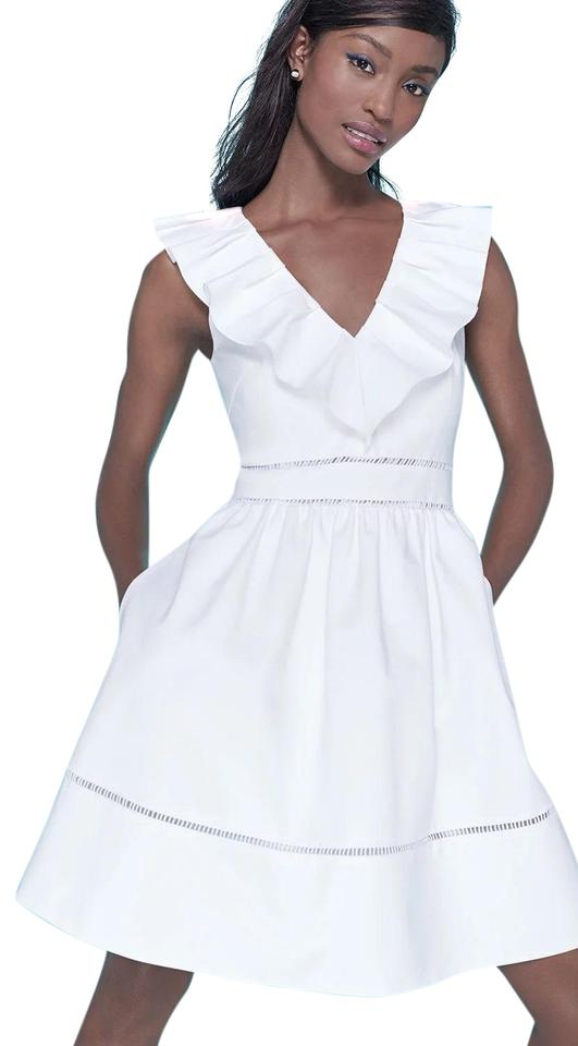2dd479871dd Kate Spade White Fresh Ruffle V Neck New Short Cocktail Dress Size 0 ...