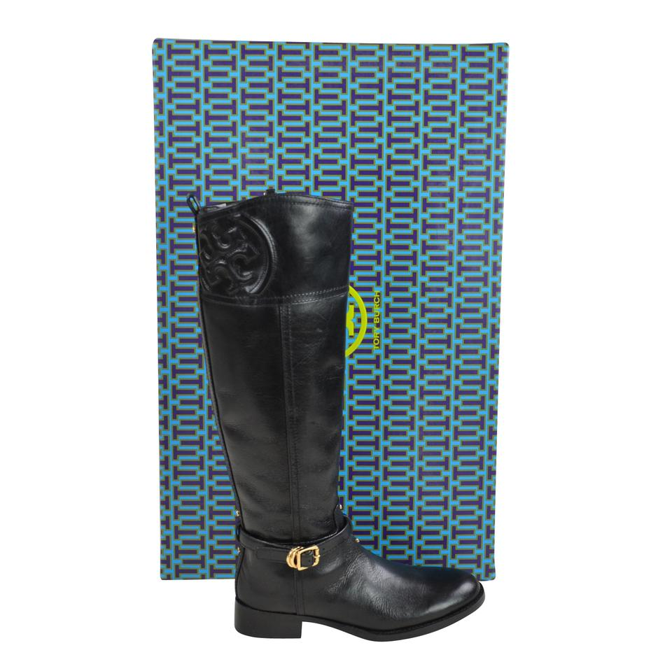 0fcde1c3ef3d Tory Burch Black Marlene Riding Boots Booties Size US 6.5 Regular (M ...