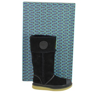 Tory Burch Suede Logo Patch Black Boots