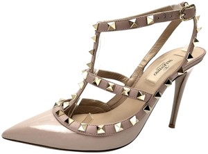 Valentino Strap Sandals Pyramid Studs Pointed-toe Glossy T-strap Poudre Patent Pumps