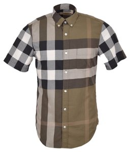 Burberry Brit Men's Nova Check Cotton Short Sleeve Shirt Small New Button Down Shirt Green