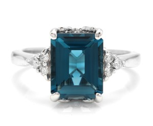 Other 3.85 Carats Natural LONDON BLUE TOPAZ and Diamond 14K White Gold Ring
