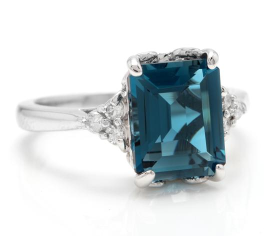 Other 3.85 Carats Natural LONDON BLUE TOPAZ and Diamond 14K White Gold Ring Image 1