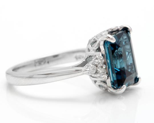 Other 3.85 Carats Natural LONDON BLUE TOPAZ and Diamond 14K White Gold Ring Image 2