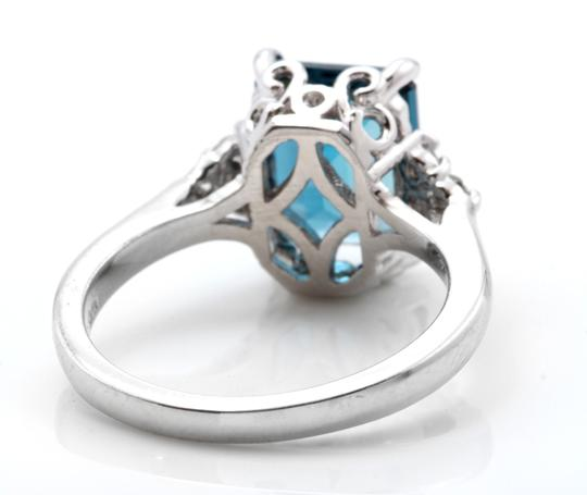Other 3.85 Carats Natural LONDON BLUE TOPAZ and Diamond 14K White Gold Ring Image 3