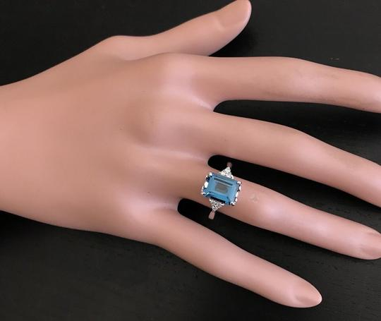 Other 3.85 Carats Natural LONDON BLUE TOPAZ and Diamond 14K White Gold Ring Image 6