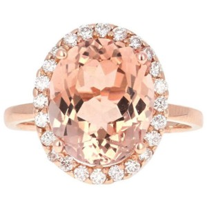 Other 3.90 Carats Natural Morganite and Diamond 14K Solid Rose Gold Ring