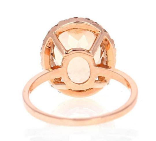 Other 3.90 Carats Natural Morganite and Diamond 14K Solid Rose Gold Ring Image 2
