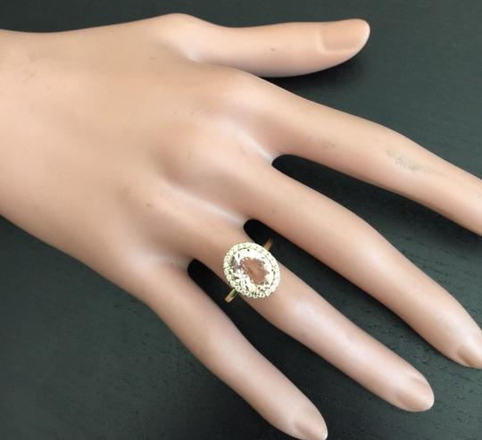 Other 3.90 Carats Natural Morganite and Diamond 14K Solid Rose Gold Ring Image 4