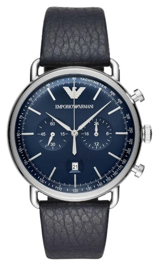 Preload https://img-static.tradesy.com/item/23997191/emporio-armani-black-and-blue-men-s-43mm-dial-leather-band-quartz-ar11105-watch-0-1-540-540.jpg