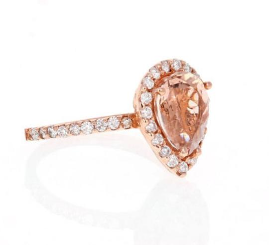 Other 3.70 Carats Natural Morganite and Diamond 14K Solid Rose Gold Ring