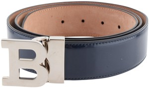 Bally Ballys Blue Ink B Buckle Patent Leather Belt