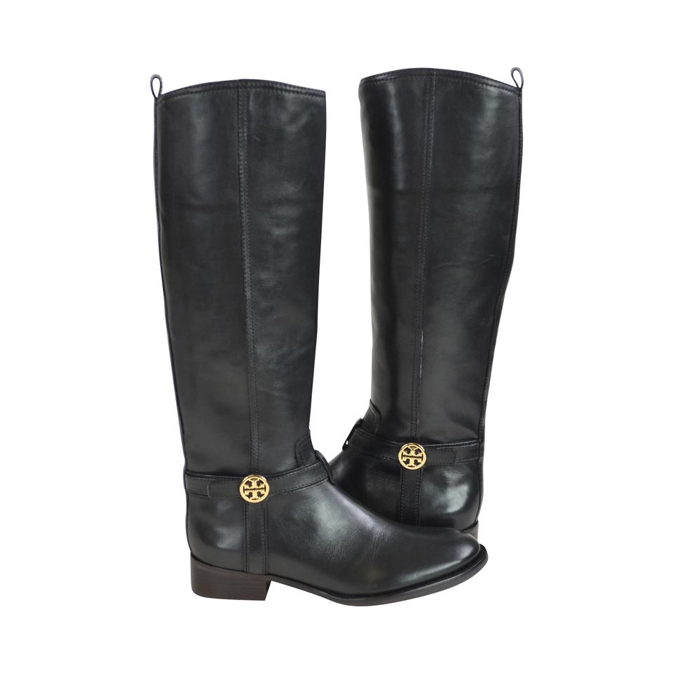 154349a9cdef1 Tory Burch Black Bristol 30mm Tall Leather Riding Boots Booties Size ...