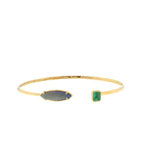 Opal and Green Stone Bangle 14k Yellow Gold Opal and Green Stone Bangle Bracelet