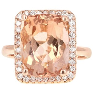 Other 8.50 Carats Natural Morganite and Diamond 14K Solid Rose Gold Ring
