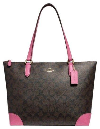 Preload https://img-static.tradesy.com/item/23997254/coach-new-classic-signature-logo-pattern-zipper-shoulder-purse-dark-brown-pink-coated-canvas-and-lea-0-3-540-540.jpg