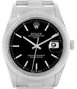 Rolex Rolex Date Black Dial Oyster Bracelet Mens Watch 15200 Box Papers