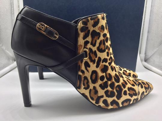 Cole Haan Animal Print Leopard Leather Ankle Black Boots