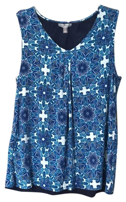 Preload https://item4.tradesy.com/images/roz-and-ali-navyivory-and-blouse-size-12-l-23997263-0-1.jpg?width=400&height=650