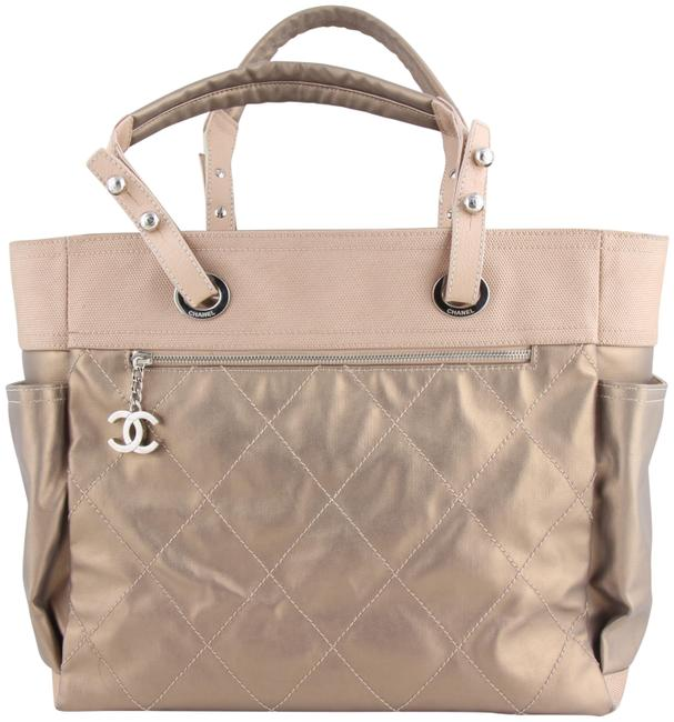 Chanel Biarritz Paris Large Gold Coated Canvas Tote Chanel Biarritz Paris Large Gold Coated Canvas Tote Image 1