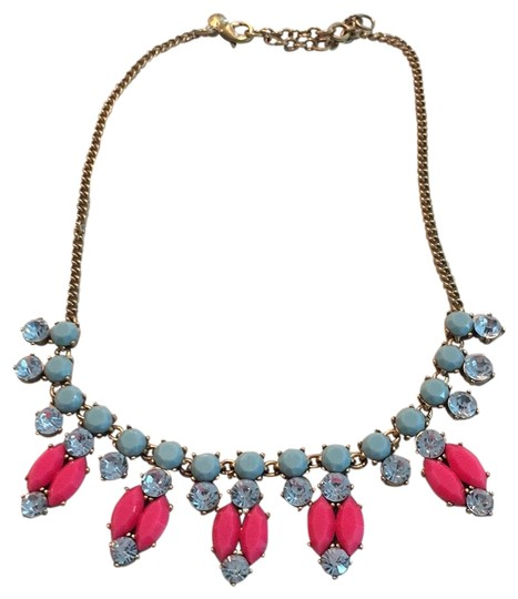 Preload https://img-static.tradesy.com/item/23997266/jcrew-gold-chain-bright-pink-and-greenish-mint-statement-necklace-0-1-540-540.jpg
