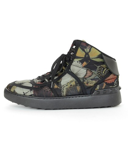 Valentino Butterfly Print High Top Studded Sneakers Black Athletic