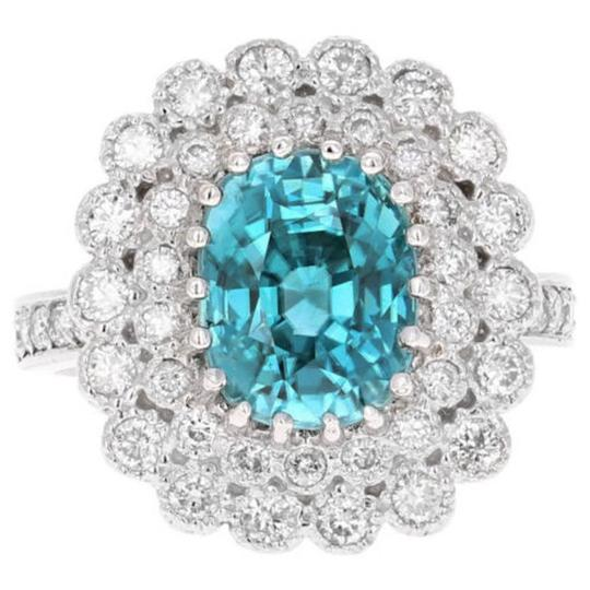 Other 8.30 Carats NATURAL BLUE ZIRCON and DIAMOND 14K Solid White Gold Ring