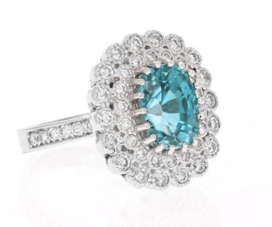 Other 8.30 Carats NATURAL BLUE ZIRCON and DIAMOND 14K Solid White Gold Ring Image 1