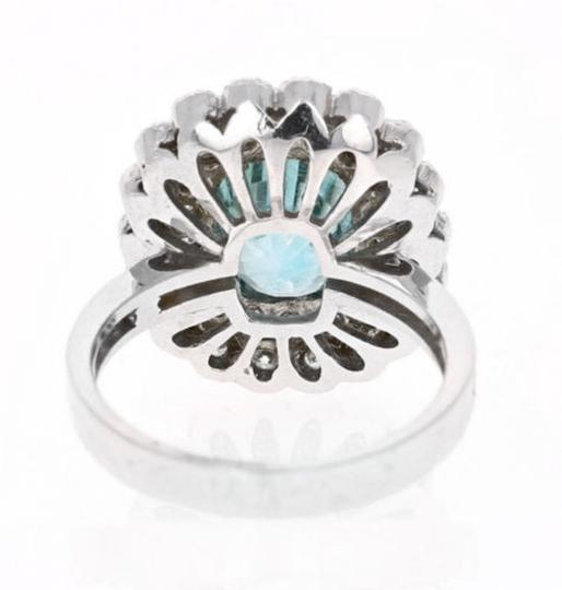 Other 8.30 Carats NATURAL BLUE ZIRCON and DIAMOND 14K Solid White Gold Ring Image 2