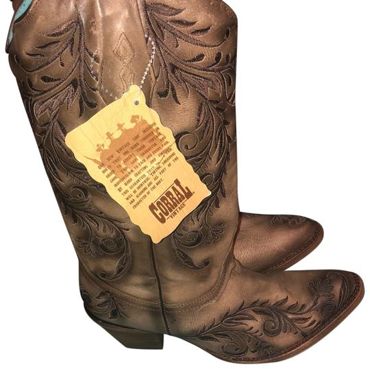 Preload https://img-static.tradesy.com/item/23997314/corral-boots-brown-and-tan-western-bootsbooties-size-us-10-regular-m-b-0-1-540-540.jpg