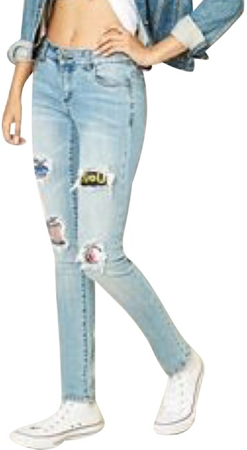 Preload https://img-static.tradesy.com/item/23997376/forever-21-blue-distressed-patches-skinny-jeans-size-2-xs-26-0-1-650-650.jpg