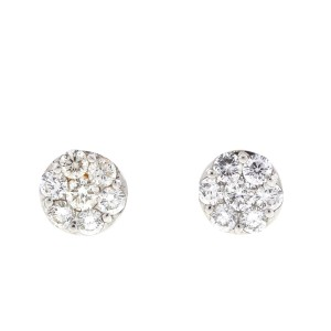 Other 14k White Gold Diamond Cluster Earrings 1.4 Cts