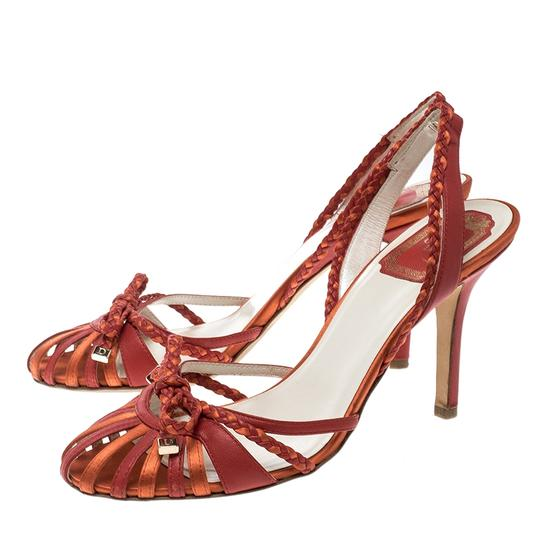 Dior Two-tone Leather Satin Red Sandals