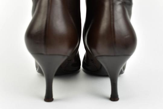 Gucci Leather Heels Dark Brown Boots